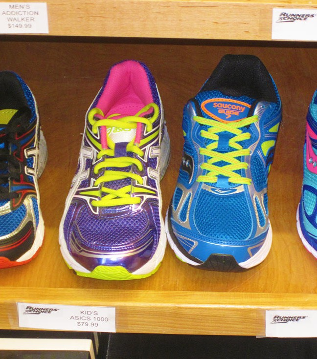 Runners Choice carries shoes for adults and kids: Asics, Brooks, Saucony, New Balance, Altra and Adidas.