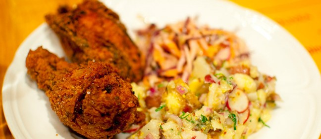 Fried chicken with coleslaw and potato salad inspired by the restaurant Breitbach's Country Dining