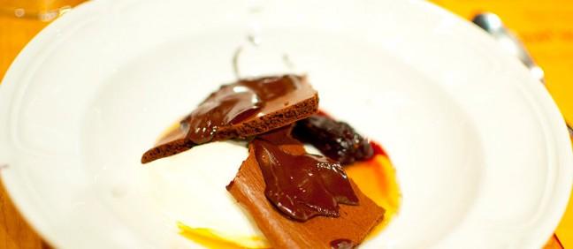 Olivea's home-run molecular gastronomy dessert - chocolate warmed to 98 degrees