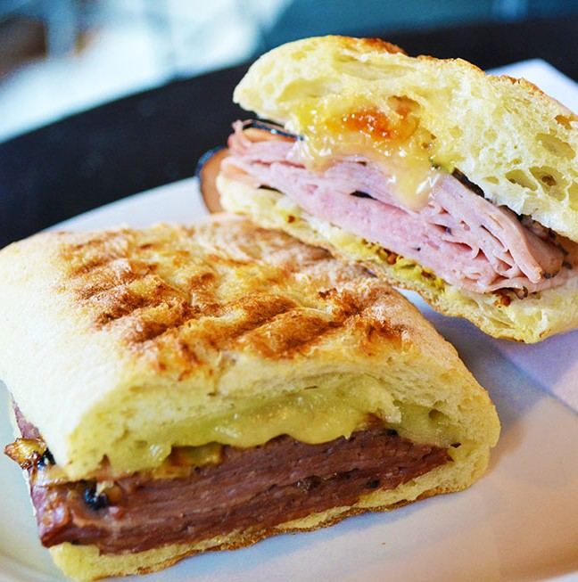Gourmet sandwiches - grilled roast beef and Wilton old cheddar & smoked black forest ham and brie.
