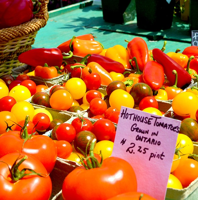 Fresh tomatoes are great for pizza sauces and then topped with fresh slices of mozzarella and herbs – all procured from the Public Market.