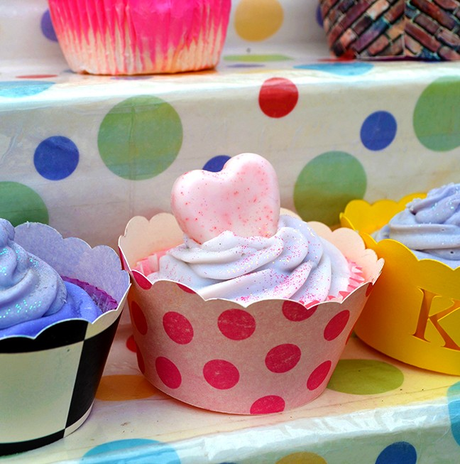 Soaps take the shapes of beautiful cupcakes by the Kingston Soap Company.