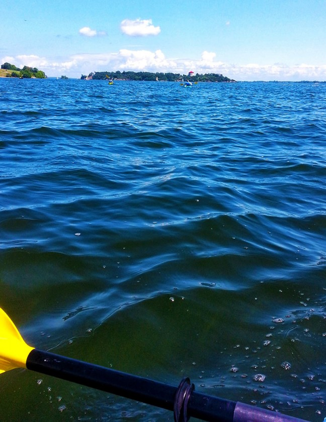 Gazing out at the journey to Fort Henry and Cedar Island while kayaking.