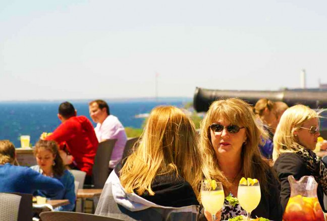 Before the Sunset Ceremonies, head to the Battery Bistro's patio for barbecue, drinks and one of the best views of downtown Kingston. (photo courtesy of Fort Henry)