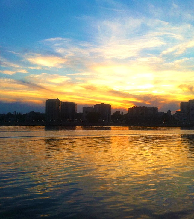 Sunset on Kingston's waterfront from the Wolfe Islander III.