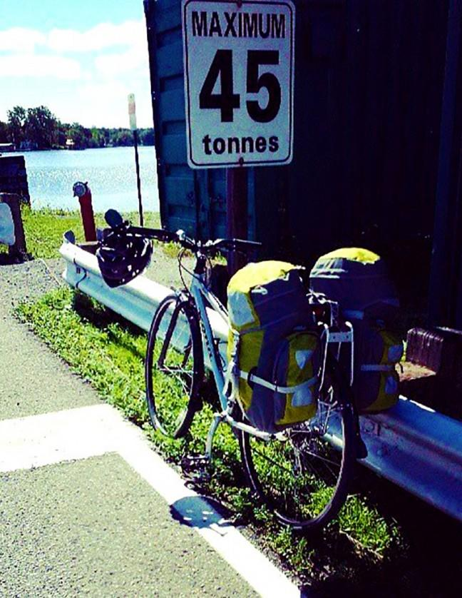 Boarding the Howe Island ferry near Kingston Ontario - does my bike loaded with camping gear fall within the 45 tonne limit?