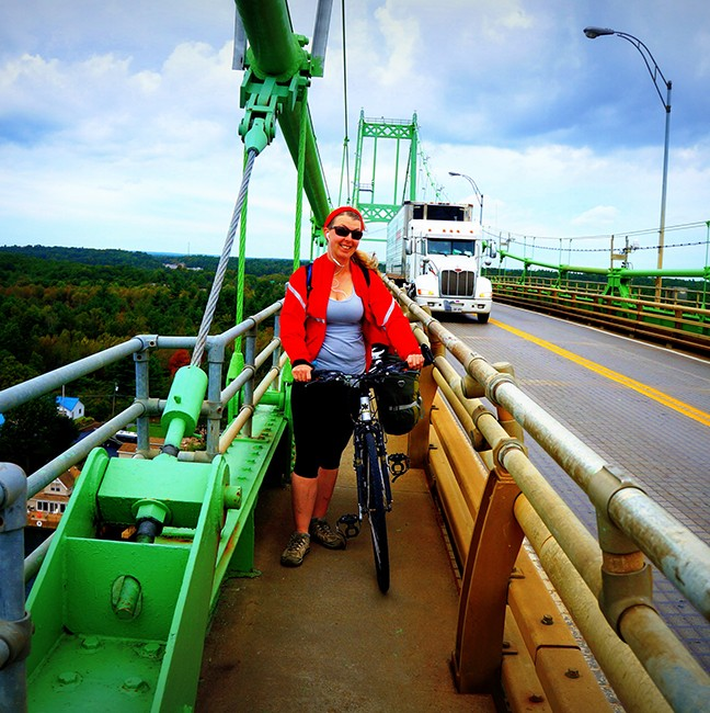 Crossing the bridge from Wellesley Island - luckily I didn't have to ride with traffic!