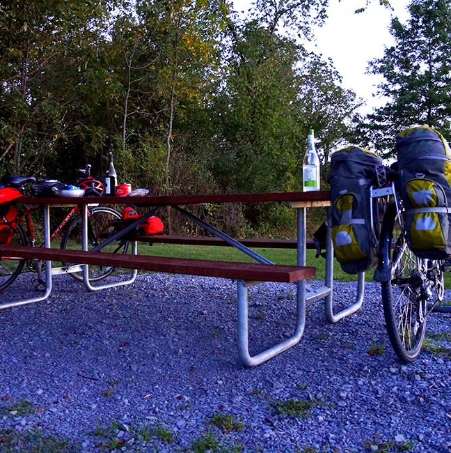 Our trusty steeds at Wellesley State Park after finally finding refreshments