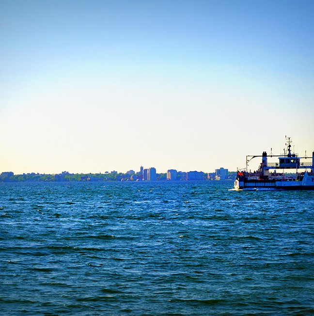 The Kingston skyline as the Wolfe Islander heads home to downtown