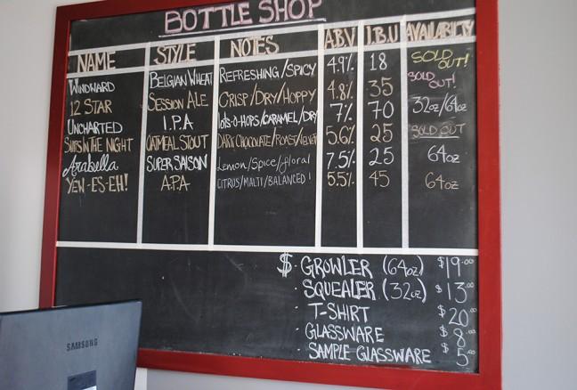 Bottle Shop chalkboard menu: sold out = success!!
