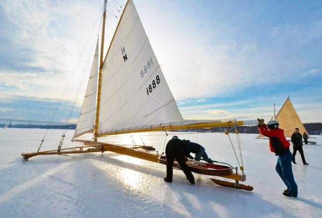 A modern ice yacht is made of a single-piece backbone the entire length of the boat, and a runner-plank upon which it rests at right angles, the two forming a kite-shaped frame.