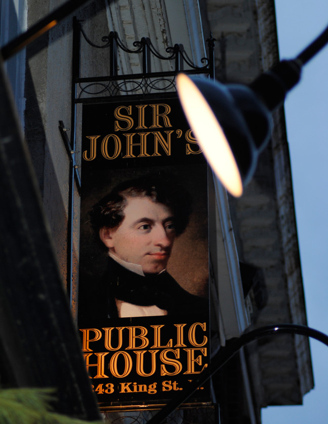 "Sir John's Public House ""Licenced for the sale of Wine, Beer & Spirits …343 King Street East"