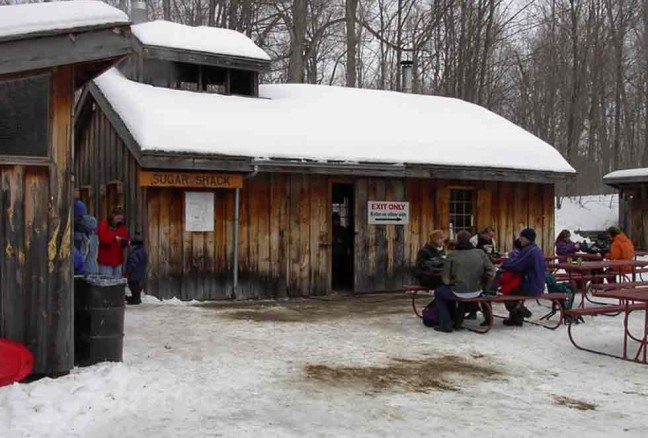 The sugar shack, where we watch the syrup being made, then feast on pancakes! (photo from the CRCA Pinterest page)