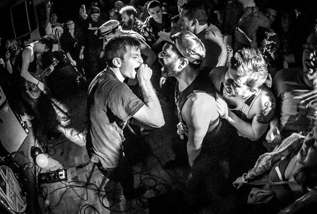It doesn't get more intimate than this: Pup frontman Zack Mykula at the 2014 Wolfe Island Music Festival. (photo: Matt Forsythe)