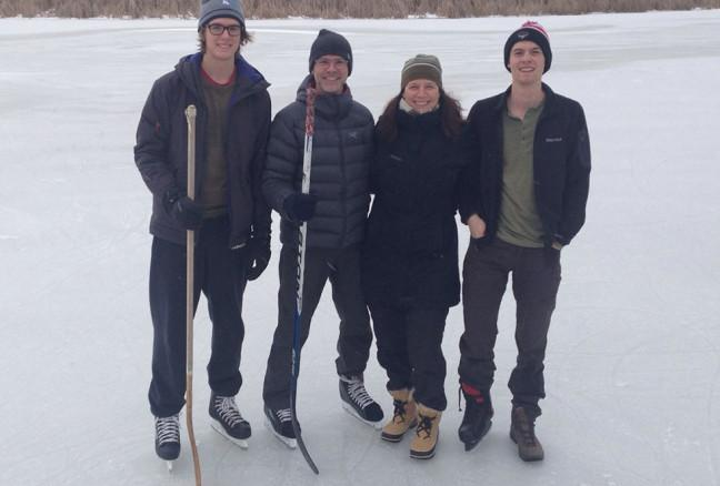 James hitting the ice for some hockey with his family.