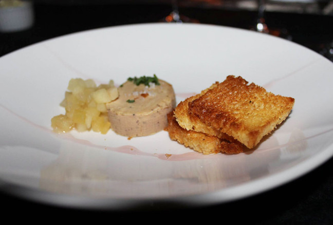 Foie gras torchon, indigo braised apples, brioche toast, gravenstein apple gastrique paired with a 2014 Riesling 'The Righteous Dude' Old Vines Single Vyd.