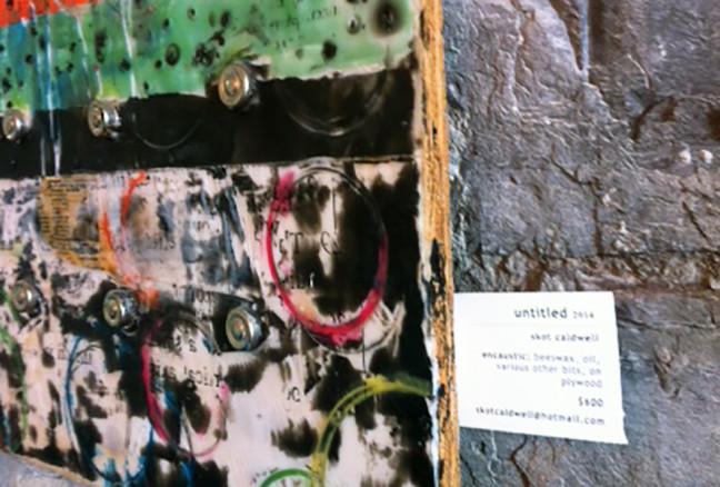 A sample of Skot Caldwell's encaustic art, adorning the limestone walls.