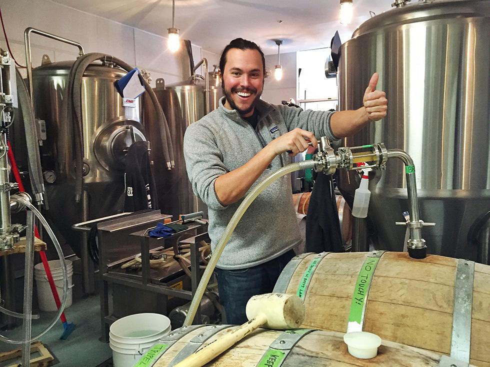Brewmaster Justin da Silva hard at work. Photo by: Stone City Ales