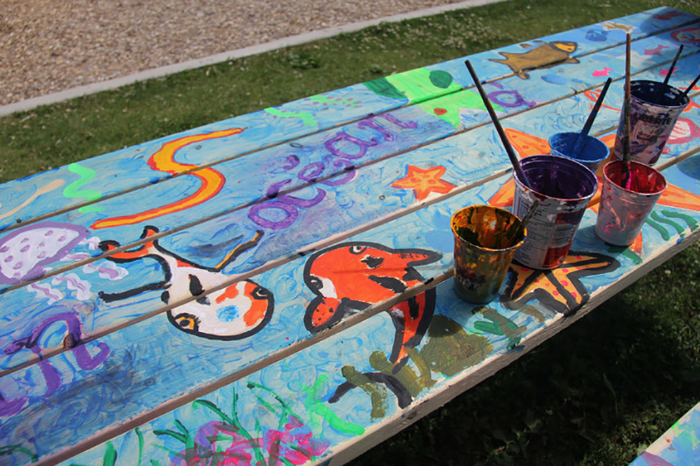 Under the Sea – working on a family picnic table project.