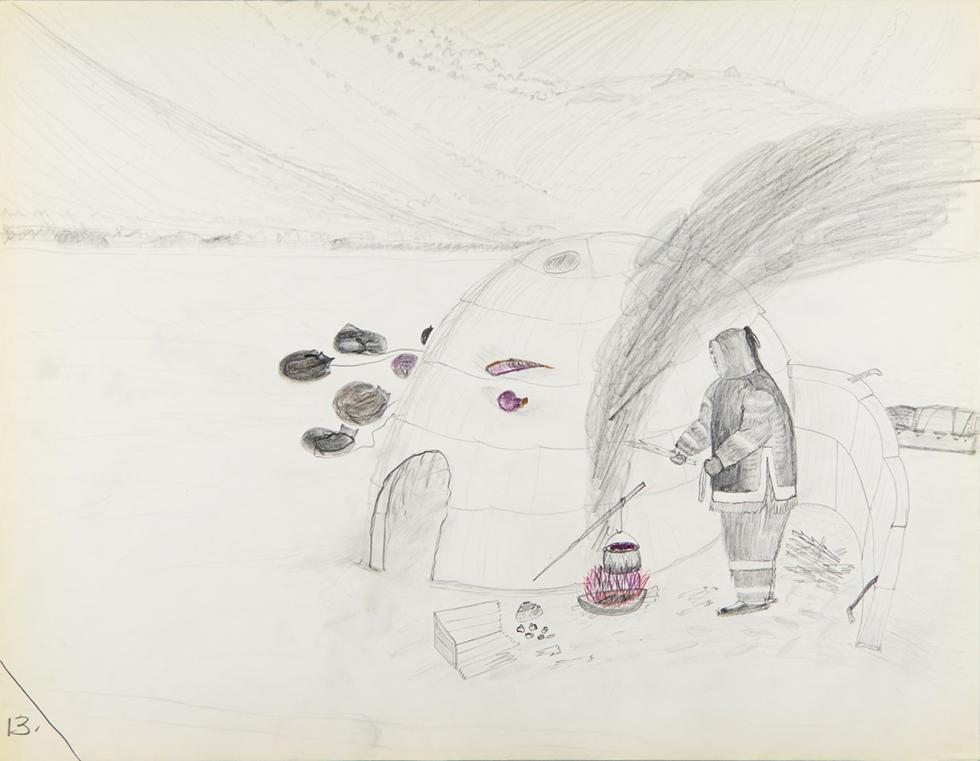 Cornelius (Kooneeloosee) Nutarak (Pond Inlet), Using Blubber to Make Fuel, 1964, graphite, pencil crayon on paper, 50 x 65 cm, Canadian Museum of History, IV-C-6952. Photo via The Agnes Etherington Art Centre.