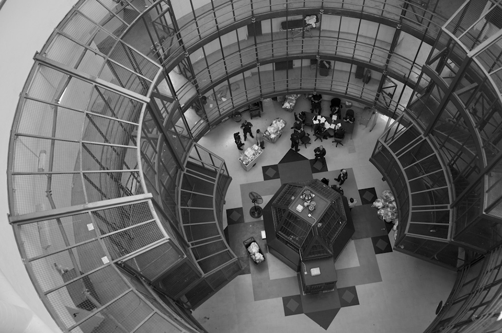 Geoffrey James, The Dome from above, 2013, black and white photograph on archival baryta-coated. From the exhibition Geoffrey James: Inside Kingston Penitentiary, 30 August–7 December 2014.