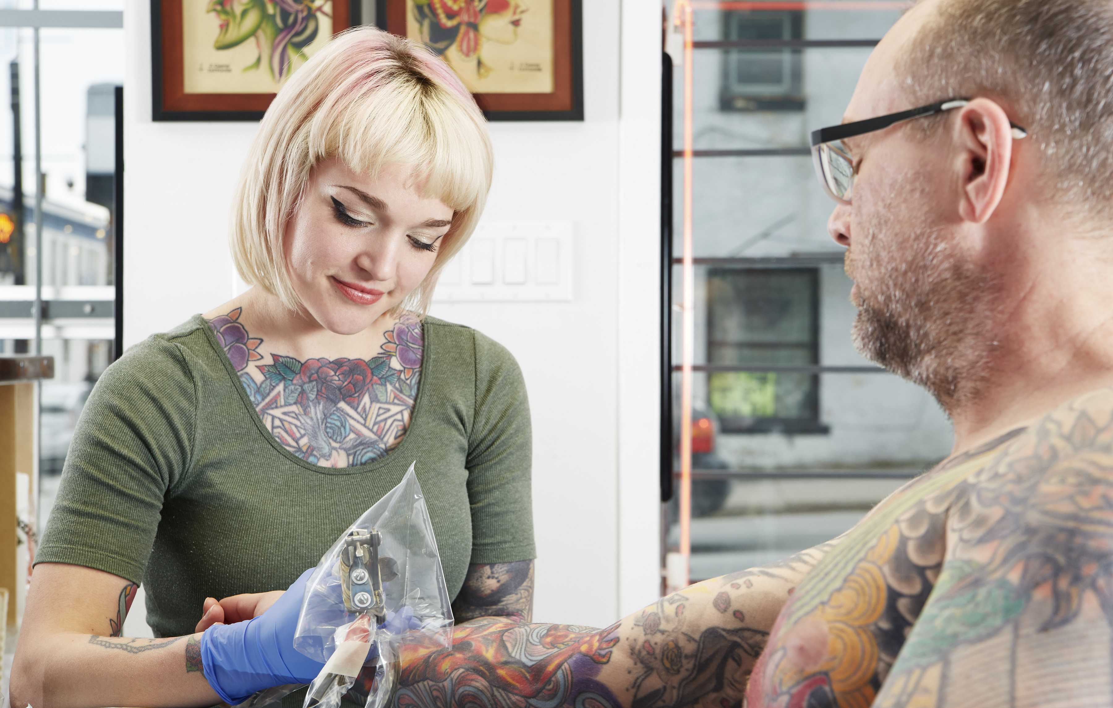 Jenny Grant tattooing at True North Tattoo